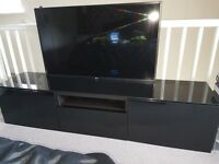 Ikea high gloss black low slung tv stand
