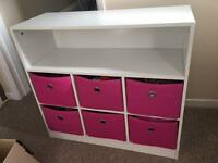 Pink and white storage unit