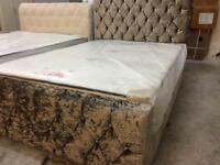 New double crushed velvet frame bed in mink with luxury mattress