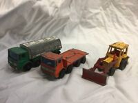 Corgi matchbox truck and digger
