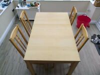 Birch Ikea Dinning Room Table and 4 Chairs