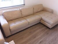 Beige 3 Seat Leather Sofa with Sofa Bed and Storage Chaise.