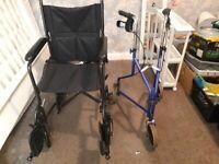 Brand New Myco Wheelchair + used walker.
