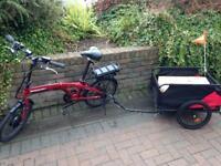 Electric folding bike ebike with cargo trailer