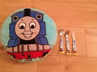 Thomas the tank engine cushion with knife, fork and spoon set