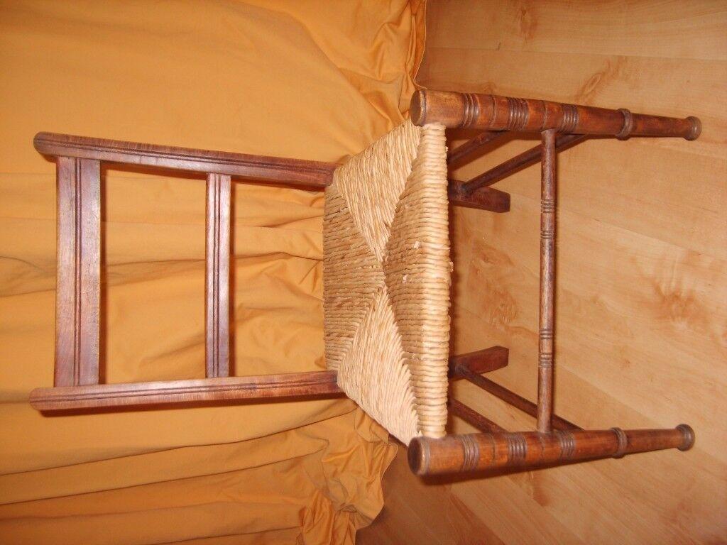 Antique Victorian/ Edwardian Child's Rush Seat Chair