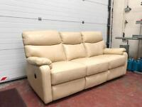 Cream Leather Sofa and Two Matching Leather Chairs