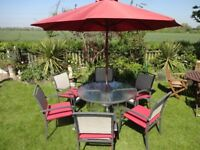 LARGE GARDEN FURNITURE SET -- GLASS TOP TABLE WITH 6 CHAIRS + CUSHIONS + LARGE PARASOL & BASE --