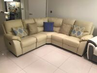 Reclining Corner Sofa In Cream Bonded Leather