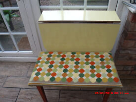 LOVELY YELLOW RETRO FOLDING DROP LEAF TABLE AND TAPESTRY STOOL