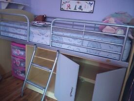Bunk bed with mattress, good condition, has plenty storage with cupboard and additional shelves