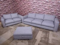 'BOSTON' XL 5 SEATER SOFA PLUS 2 SEATER & STORAGE FOOTSTOOL IN ZINC GREY CROSS WEAVE FABRIC SETTEES