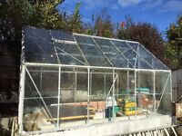 Glass greenhouse - 380 long x 250 wide and 120 high sides to apex at 230cm - needs dismantling