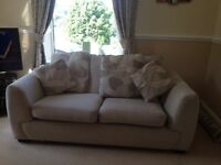 Two 3 seater Sofas and Large Pouffee