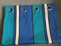 Blue Stripe Handmade Eyelet Curtains