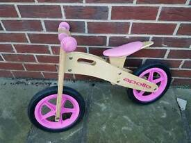 Balance bike, wooden, pink. Excellent condition.