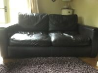 Dark brown, two seater leather sofa