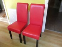 Two Red Dining Room Chairs