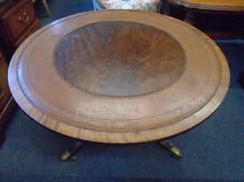 round wood coffee table brass casters