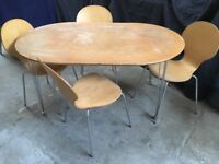 Super-Elliptical Table and 4 x bent plywood chairs