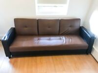 THREE SEATER FAUX LEATHER SOFA BED. RRP £500