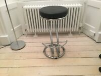 Chrome and black leather bar/kitchen stool from John Lewis
