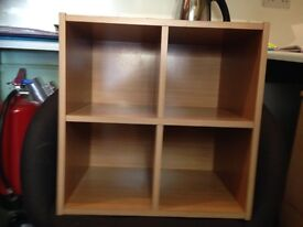 Small shelving unit - 16inx16in. Beech effect . Solid with three wall brackets