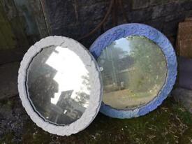 Mirrors 2 large circular vintage mirrors