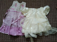 Bundle of Summer Clothes for Girl 3-6 mths, Monsoon dress, Mothercare sleepsuits, M&S bibs.