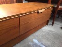 Vintage Retro teak veneer low Chest of Drawers Sideboard tv Cabinet