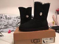 Ladies Size 6.5 Black Swarovski Ugg Boots
