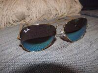 Ray-Ban Sunglasses Aviator Sun Glasses Gold Metal Frame blue'ish UV lens