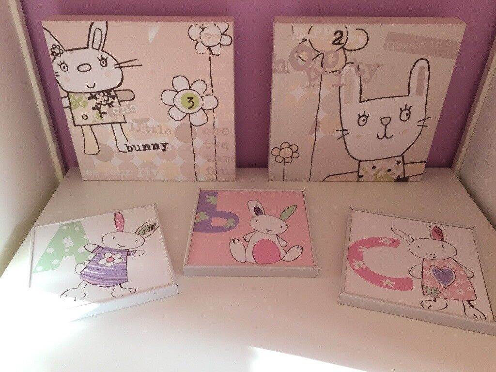 Two canvas print pink/bunny pictures and 3 ABC pictures for girls nursery