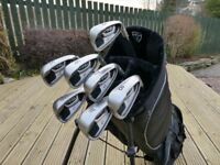 Ping G20 irons, 4 to PW. Ping CFS Stiff Shafts, 3° upright, brand new grips. Standard length.