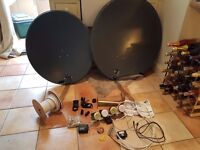 Two satellite dishes 90cm and 80cm with 4 LNBs and accessories: wall mount, finder, compass, cables