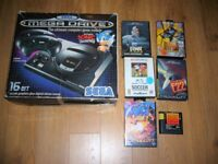 Sega Mega Drive Black Console Boxed + 6 Games fully working