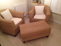 Conservatory chairs and coffee table in seagrass