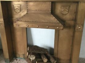 Original ARTS and CRAFTS period BRASS fireplace inset