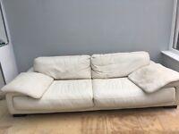 White leather 4 seater sofa