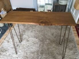 RUSTIC CONSOLE SIDE HALL TABLE WITH METAL HAIRPIN LEGS