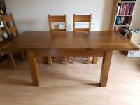 Dark wood oak rustic dining table with 4 chairs