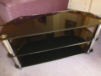 Black glass/chrome effect TV stand