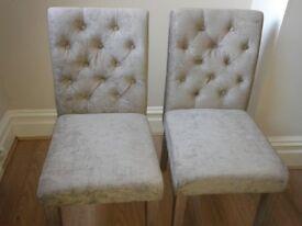 pair of 2 Next Moda 2 Button dining chairs in Antique Velvet Dark Mink grey purple AS NEW
