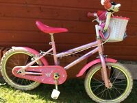 "Girls 16"" Sparkle n Glitz pink bike"