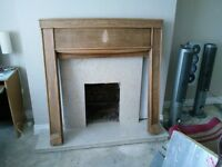 wooden fire surround and marble hearth