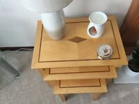 Nest of tables and matching small table with drawer,fully assembled and portable