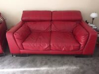 Large Red Leather Suite for Sale