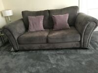 Grey 3 seater sofa & swivel chair