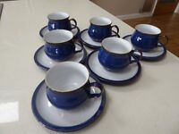 Denby Imperial Blue 6 Cups & Saucers Brand New