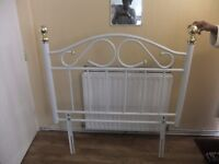 White & gold metal frame a single bed